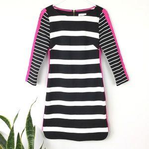 Eliza J Stripe Ponte black stripe Shift Dress 2